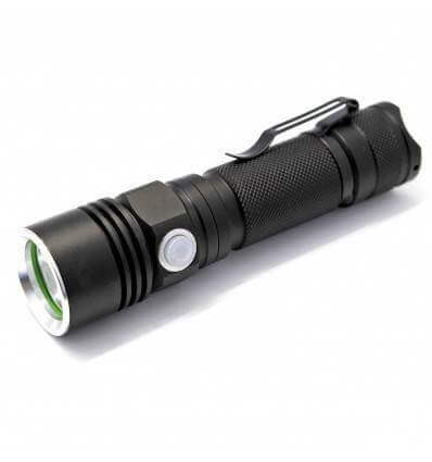 Soshine TC10 Rechargeable 200LM LED 3-Mode White Flashlight with USB Cable- Black (1 x 18650)
