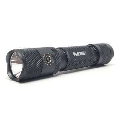 Powertac M5 Rechargeable Tactical LED Flashlight - CREE XM-L2 U3 - 1300lm / 220m - Uses 1 x 18650 (included) or 2 x CR123A