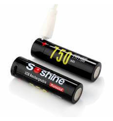 2x Soshine 14500 Protected USB Rechargeable Battery:3.7V 750mAh