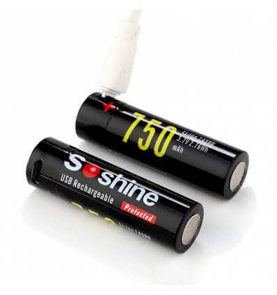 2x Soshine 14500 Protected USB Rechargeable Battery:3.7V 750mAh