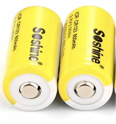 2x Soshine 16340 RCR123 800mAh ICR Battery: 3.7V  Rechargeable Li-ion